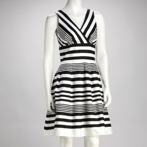 Olivia Matthews Black White Stripe Surplice Dress